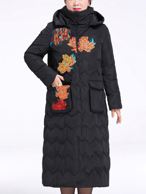 Marian Hooded Solid Color Quilted Down Coat with Floral Embroidery