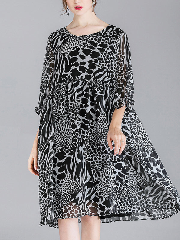 Abby Vintage Contrasting Round Neck Animal Print High Waist Midi Dress