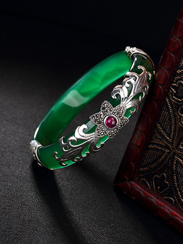 Vera Vintage Jade Cuff Bangle with Silver Inlay