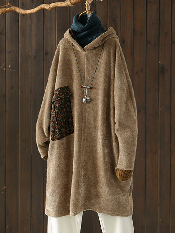 Lena Ethnic Hooded Sweatshirt Dress with Shivering Prints