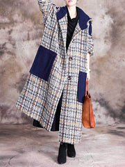 Exec in the City Plaid Print Hooded Coat