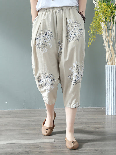 Floral Bunch Cotton & Linen Cropped Trouser