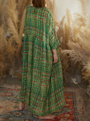 Forever Green Lattice Print Cotton Smock Dress