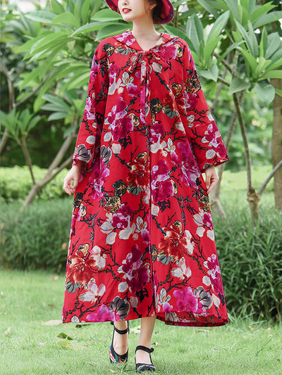 Floral Printed Hooded Red Cape Coat