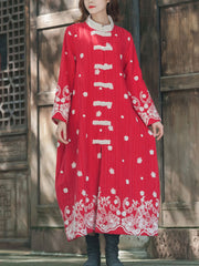 Embroidered Thickened Cotton Coat