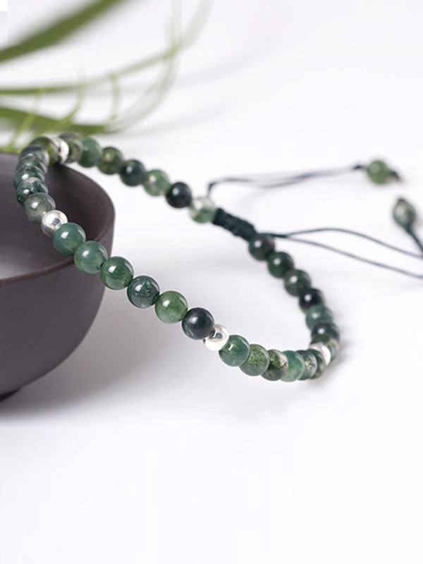 Laurie Simplicity Agate Silver Alternating Beads Bracelet