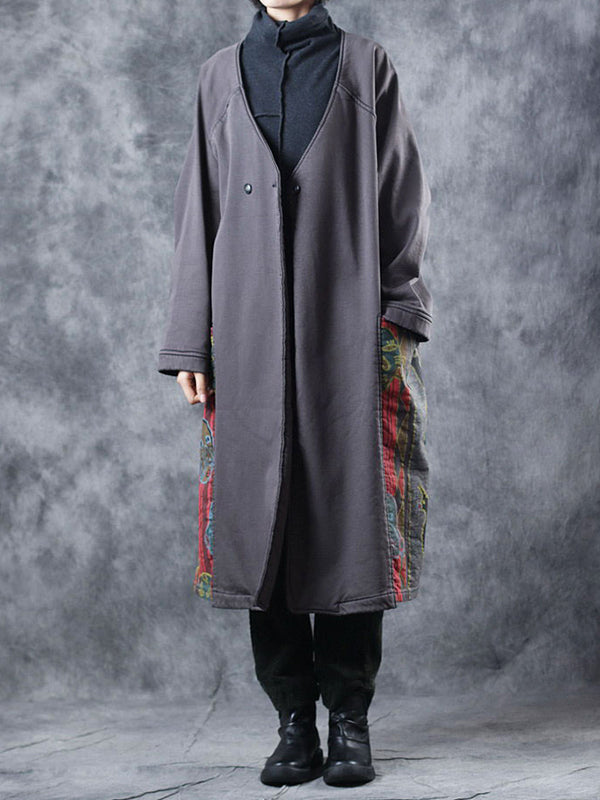 Heidi Vintage V Neck Quilted Overcoat with Printing and Dyeing