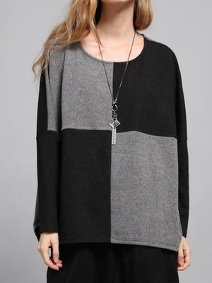 Penny Round Neck Contrast Color Knit Top with Plaids Prints