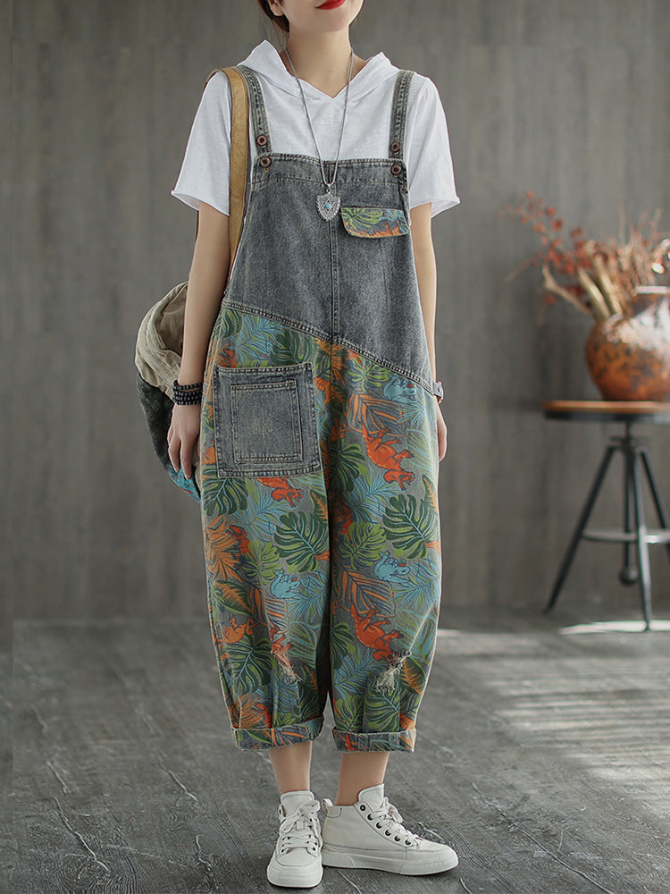 Special Memories Leaf Print Denim Cropped Overall Dungarees