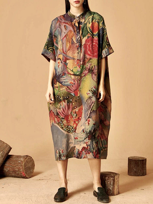 Fay Vintage Lapel Floral Print Buttoned Maxi Dress