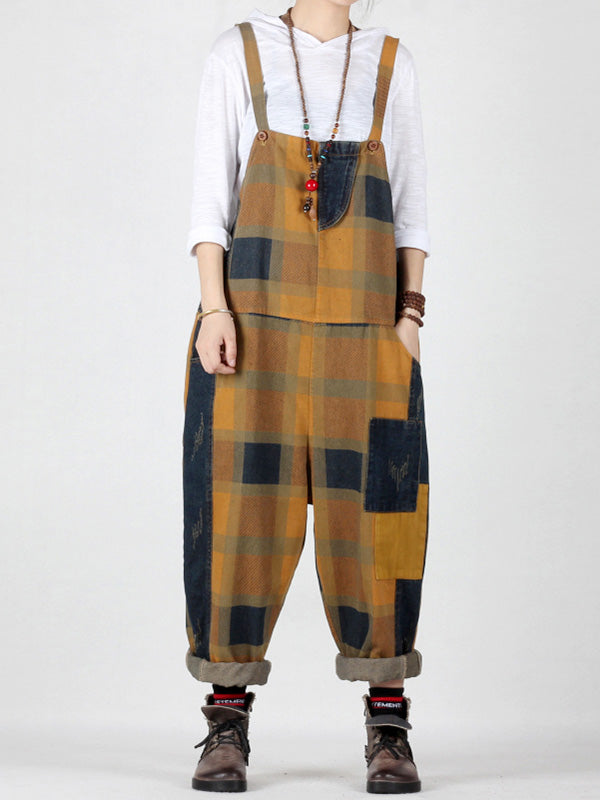 Fine Blocks Hippie Splicing Overalls Dungarees