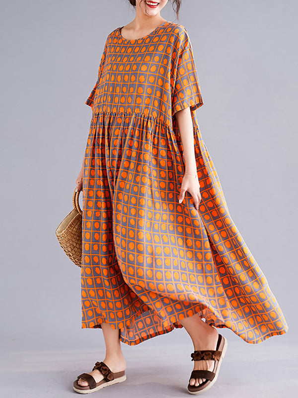 Kaitlin Round Neck Vintage Dot Printed Linen & Cotton Smock Dress