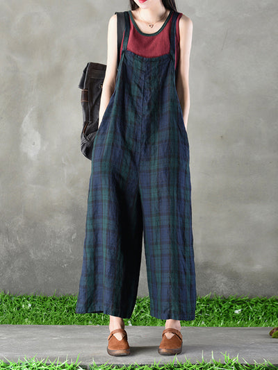 Morning Call Plaid Wide-Leg Jumpsuit