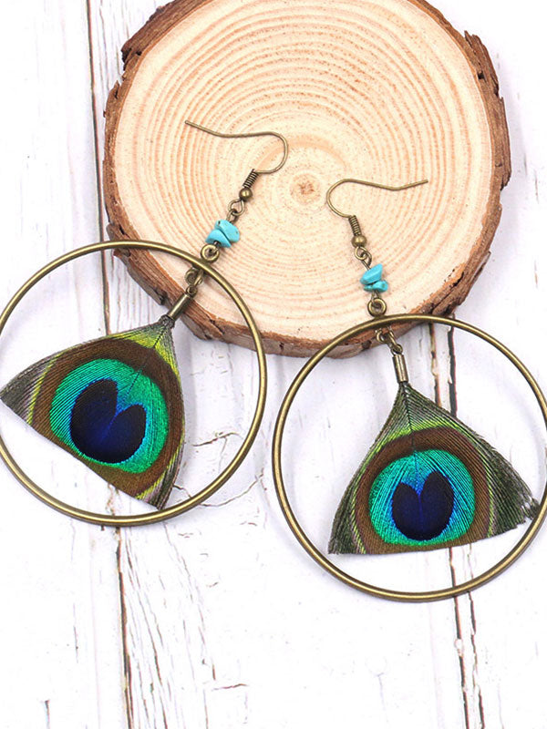 in Focus Peacock Feather Earrings