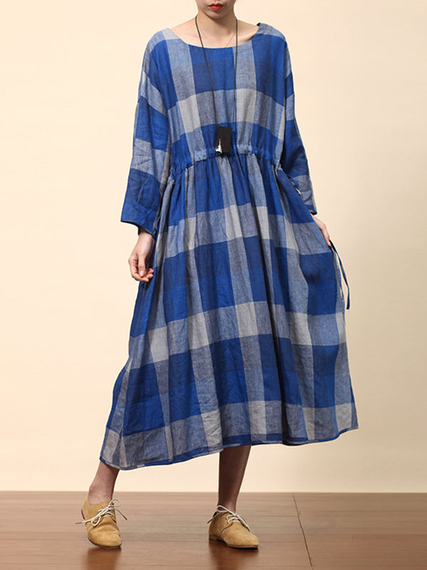 Serena Round-neck Bluish Contrasting Plaid Print High-waist Ramie Smock Dress