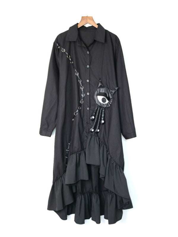 Hunter Pu High-Low Collared Shirt Dress