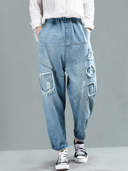 Lily Vintage Faded Baggy Pants with Geometric Appliques