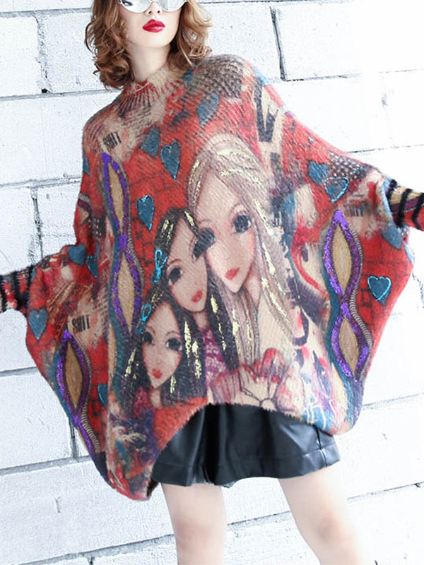 Jenny Gilding Fashion Gals Print Pullover Sweatshirt with Batwing Sleeves
