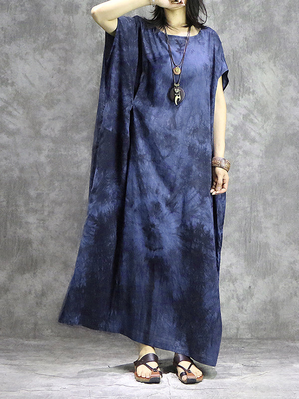 Tie Dye Drawstring Plus Size Maxi Dress