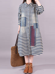 Abaigael Polo Neck Joint Stripes Denim Patch Shirt Dress