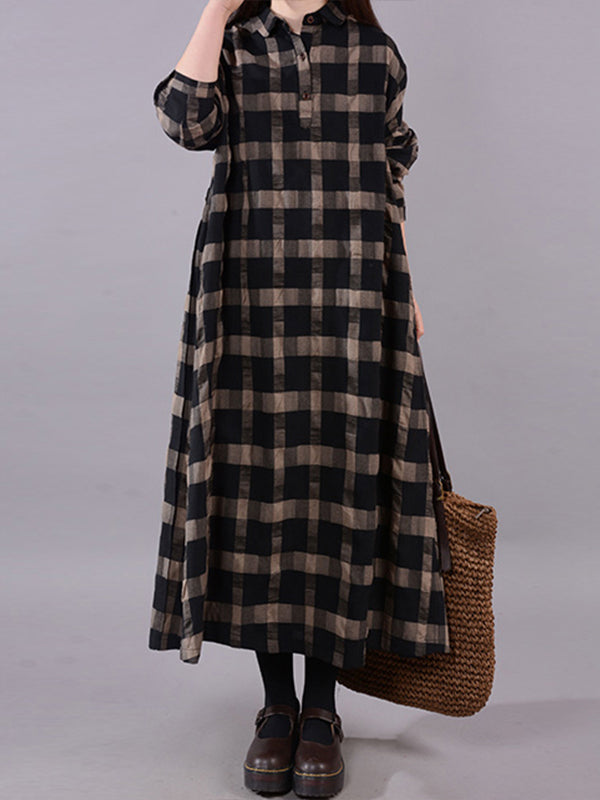 Abbi Polo Neck Plaid Print Buttoned Shirt Dress
