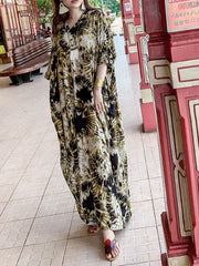 Same As Old Time Abstract Print Silk Maxi Dress