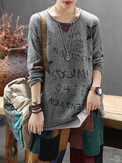 Star Words Printed Cotton Sweater
