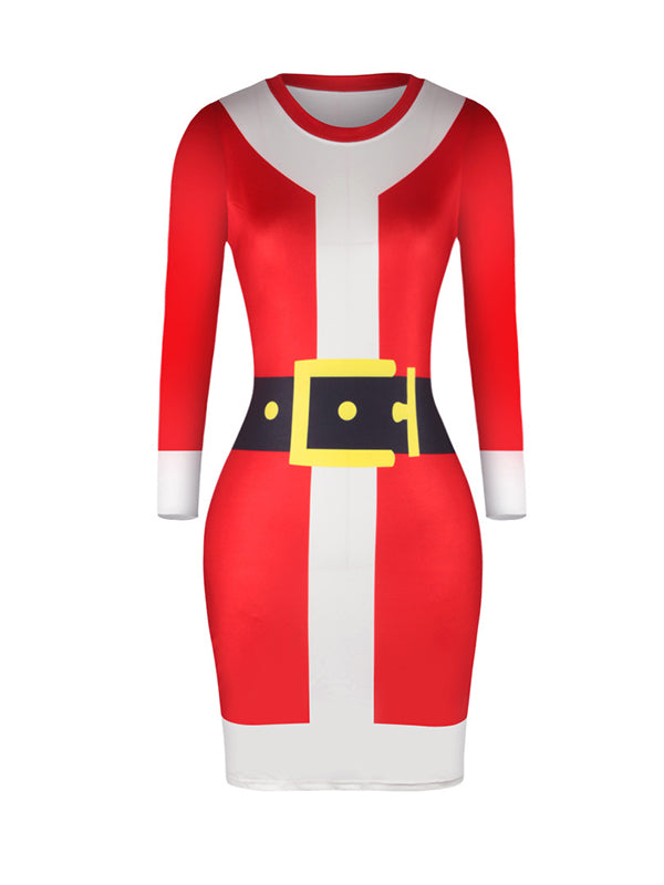 Leah Round Neck Santa Belt Buttocks Midi Dress