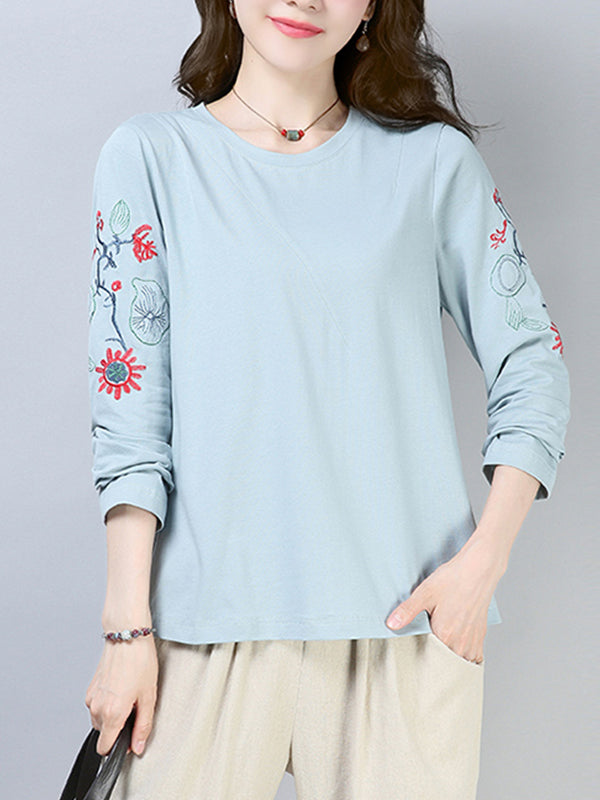 Lorie Vintage Round Collar Matching Floral Embroidered T-Shirts