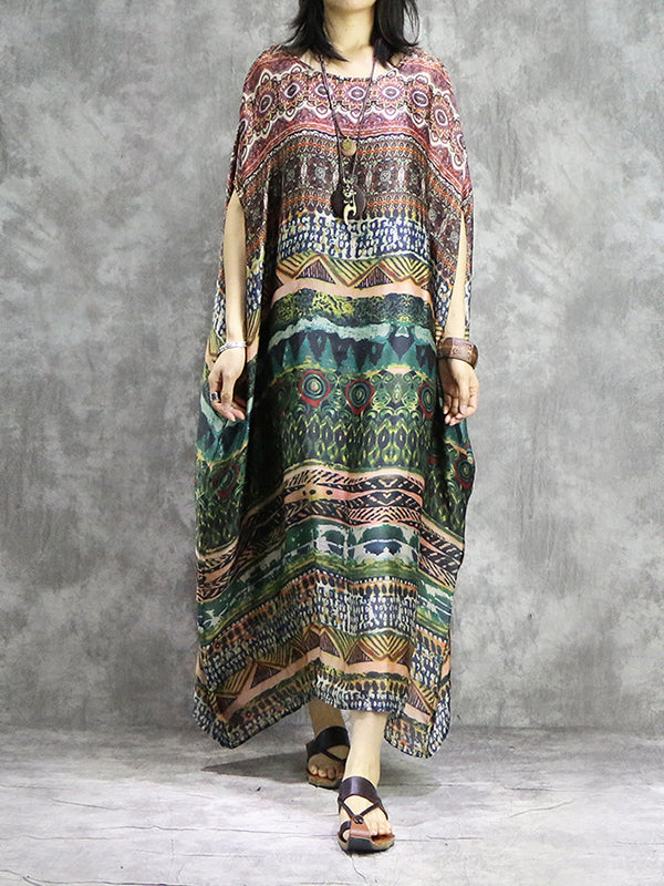 Totem Garden Ethnic Silk Midi Dress