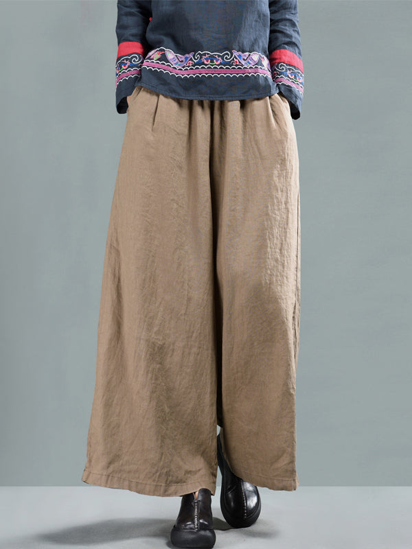 Harriett Vintage Casual Elastic-waist Linen Wide Leg Pants with Pockets