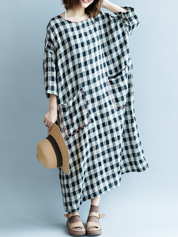 Lena Round Neck Linen Cotton Pockets Midi Dress with Plaids Prints