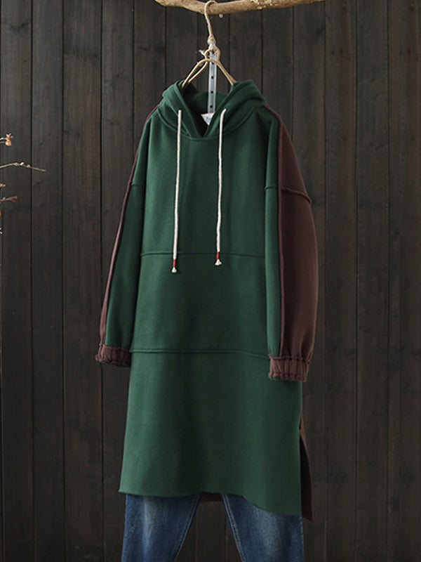 Deanna Hooded Drawstring Sweatshirt Dress with Joint Colors