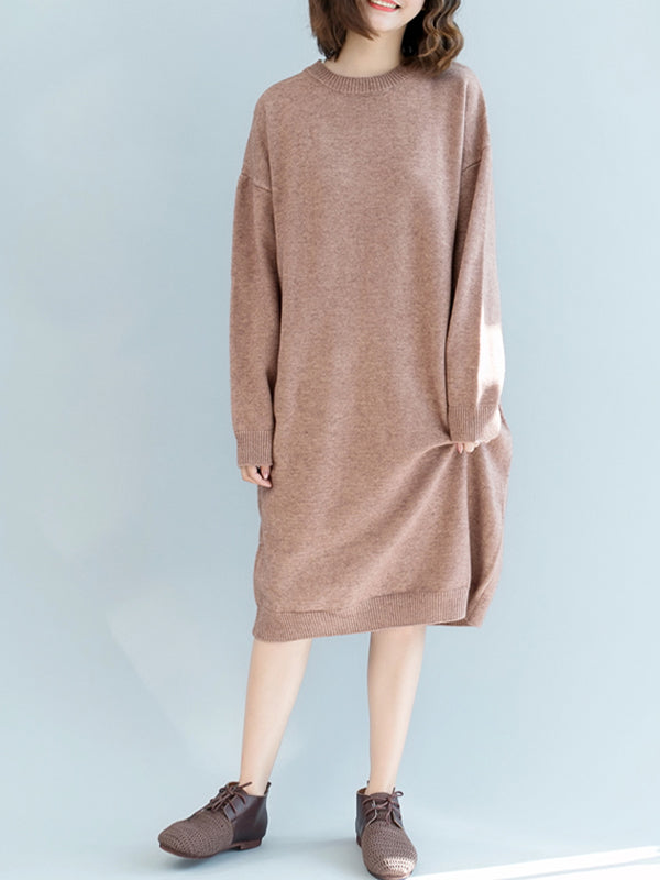 Gwendolyn Round Neck Soft Knit Pullover Midi Dress wth Dimplicity Color
