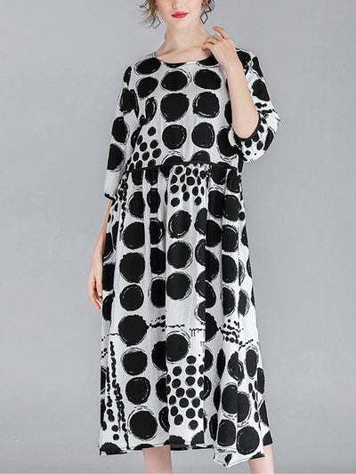 Winnie Vintage Contrasting Round Neck Polka Dot Print High Waist Midi Dress