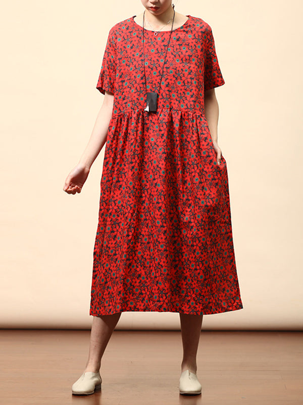 Lenore Round-neck Vintage Floral Print High-waist Ramie Midi Dress