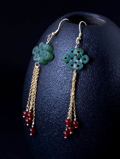 Stacy Ethnic Knot Jade Ear Pendants with Golden Tassels