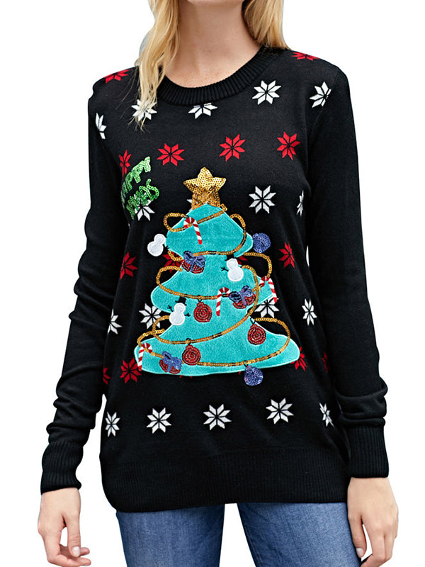 Sequined Christmas Tree Sweater