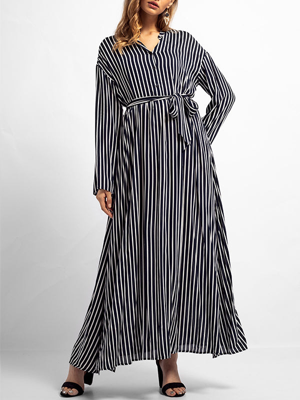Natasha Basic Black & White Stripes A Line Dress