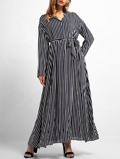 Natasha Basic Stripes A Line Dress