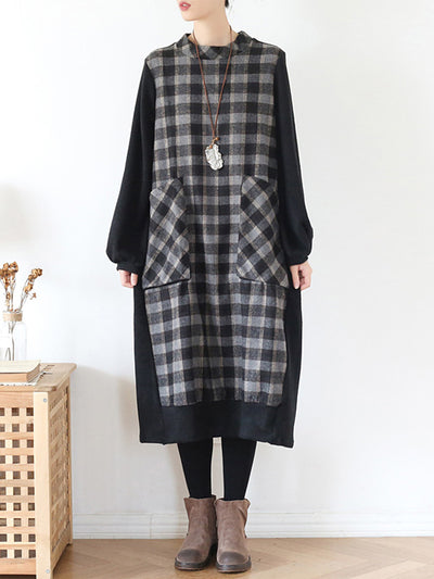 My Gala Plaid Print Contrasting Midi Dress