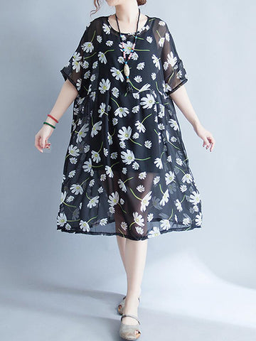 Flying Floral Smock Dress