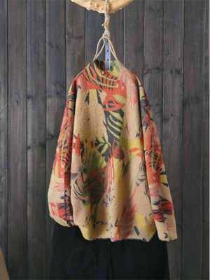 Half Neck Ethnic Drop Shoulder Sweater with Signature Prints