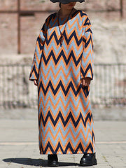 Seein' Zig-Zag Stripes Woolen Maxi Dress
