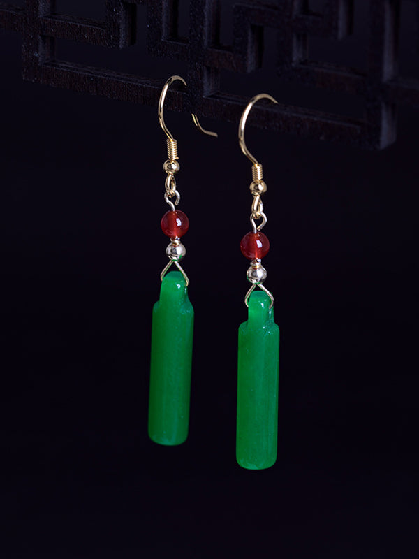 Melanie Ethnic Silver Jade Earrings with Agate Beads