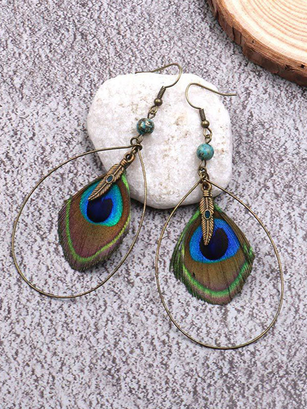 Beautiful Plumage Peacock Earrings