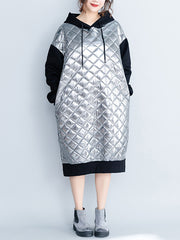 Serene Silver Hooded Sweatshirt Dress