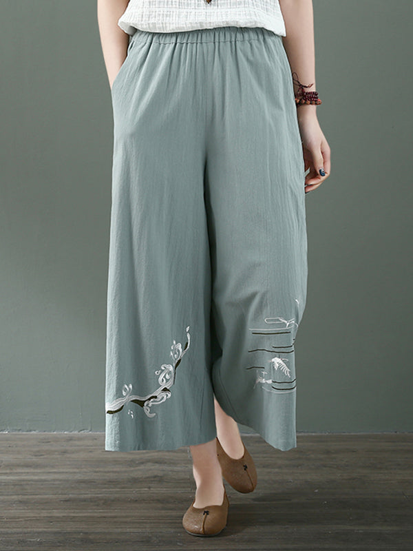 Color Me Up Cotton & Linen Wide Leg Pant