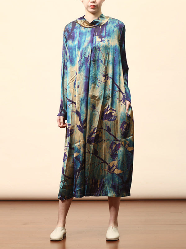 Allie Stand-neck Multi-color Contrasting Floral Printing Ramie Midi Dress