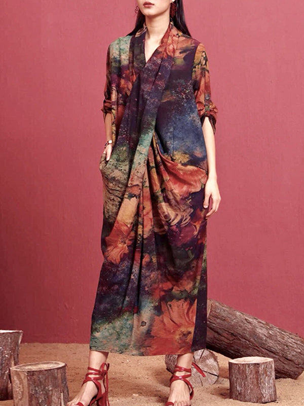 Jillian Abstract Floral Print Pleated Maxi Dress